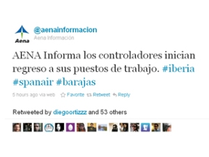 El tweet amb què Aena ha comunicat que els treballadors començaven a tornar a la feina.