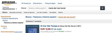 Captura del web d'Amazon, apartat folklore espanyol