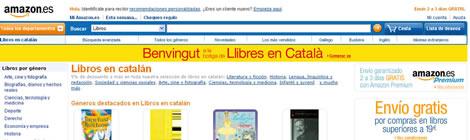 Web d'Amazon amb un apartat de llibres en català