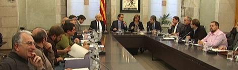 Imatge de la cimera al palau de la Generalitat sobre la reforma educativa