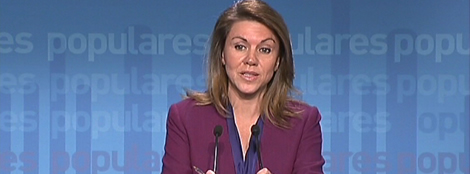 L'actual secretària general del PP, Maria Dolores De Cospedal en roda de premsa