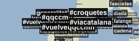 Mapa on apareixen les etiquetes #ViaCatalana i #croquetes entre les més usades. (Font: Trendsmap)