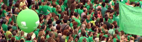 """La """"marea verda"""" inunda els carrers de Palma."""