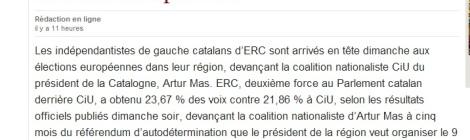 """Els diaris estrangers, com el belga """"Le Soir"""", s'han fixat en Catalunya aquest 25-M."""